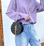 Маленькая круглая нереальная сумочка в осколках (блестках), фото 4