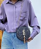 Маленькая круглая нереальная сумочка в осколках (блестках), фото 5