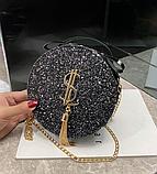 Маленькая круглая нереальная сумочка в осколках (блестках), фото 7
