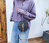 Маленькая круглая нереальная сумочка в осколках (блестках), фото 6