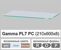 Стеклянная полка прямоугольная Commus PL7 PC (210х600х8мм), фото 1