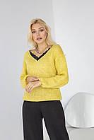 Тепла жіноча кофта з натурального мохеру золотисто-жовтого кольору, фото 1