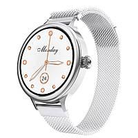 Смарт часы Фитнес браслет M4 женский с измерением давления и пульса, серебро