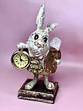 Декоративна фігура з годинником Білий Кролик 26см, фото 2
