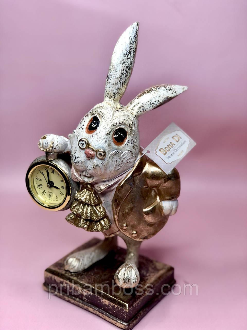 Декоративна фігура з годинником Білий Кролик 26см