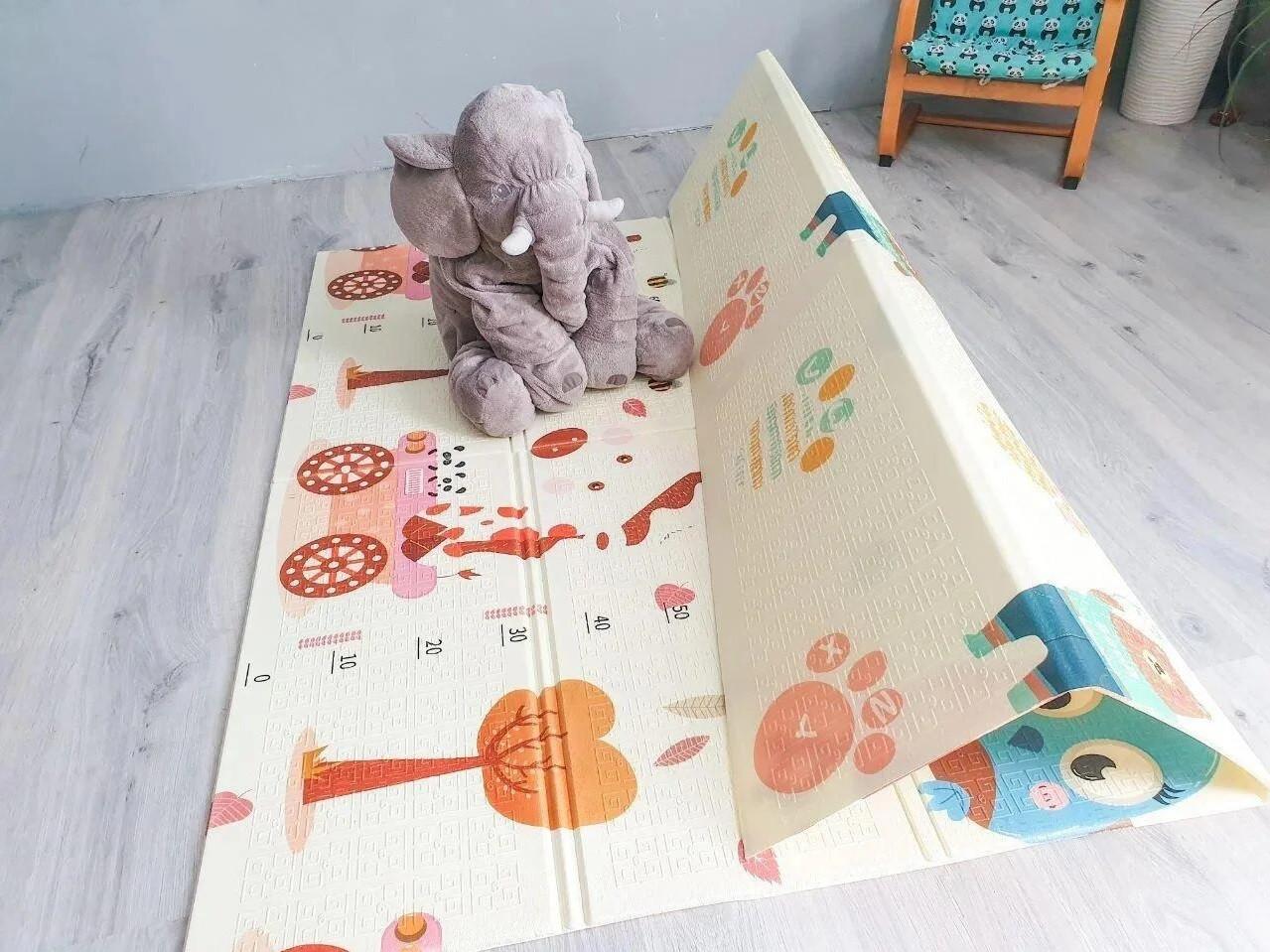 Вспененный детский развивающий коврик Children GO 200* 150 , двусторонний, с рисунками и текстурным покрытием