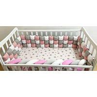 Комплект Бортики БОМБОН в детскую кроватку на 3 стороны с КОСИЧКОЙ