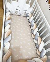 Комплект Бортики в детскую кроватку КОСИЧКА на 3 стороны
