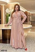 Блестящее трикотажное платье люрекс с длинными рукавами на резинке 50 по 60 размер, фото 1