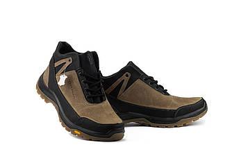 Мужские кроссовки кожаные зимние черные-оливковые Anser 124