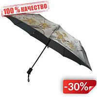Женский зонт полуавтомат Max на 10 спиц с цветочным узором Серый (2018-2)