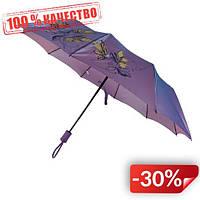 Женский зонт полуавтомат Max на 10 спиц с цветочным узором Фиолетовый (2018-6)
