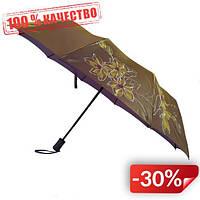 Женский зонт полуавтомат Max на 10 спиц с цветочным узором Коричневый (2018-1)