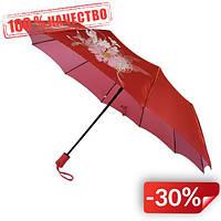 Женский зонт полуавтомат Max на 10 спиц с цветочным узором Красный (2018-9)