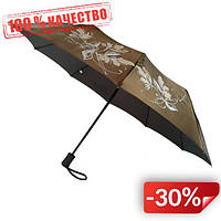 Женский зонт полуавтомат Max на 10 спиц с цветочным узором Оливковый (2018-10)