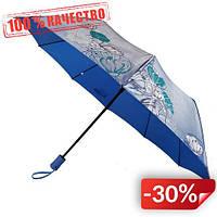 Женский зонт полуавтомат Max на 10 спиц с цветочным узором Голубой (2018-11)