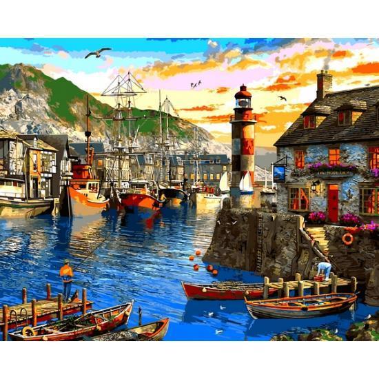 Картина по номерам VP1279 Восход солнца в порту VP1279, Babylon, 40x50 см.
