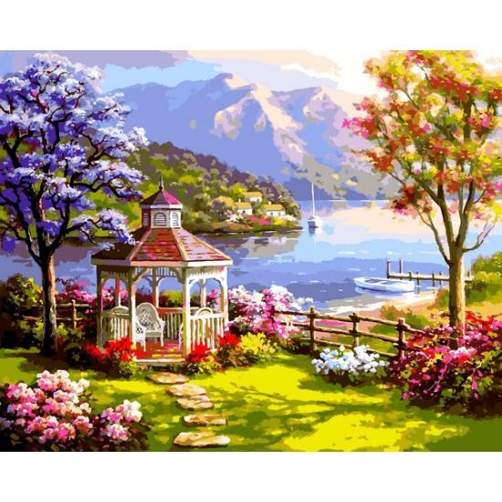 Картина по номерам VP1302 Беседка у озера VP1302, Babylon, 40x50 см.