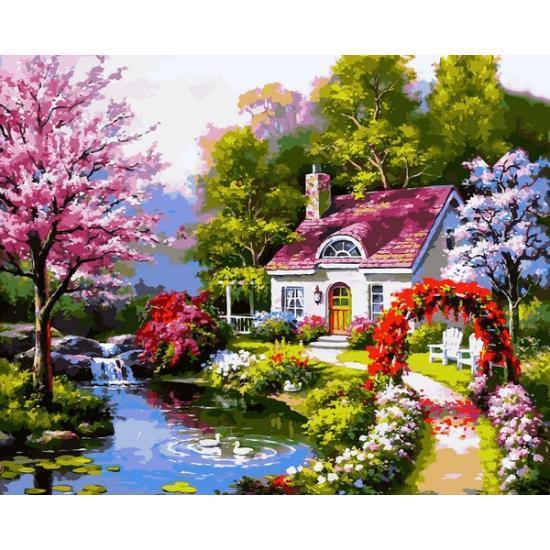 Картина по номерам Весенний коттедж VP1306, Babylon, 40x50 см.