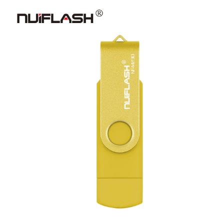 USB OTG флешка Nuiflash 32 Gb micro USB Цвет Жёлтый ОТГ для телефона и компьютера