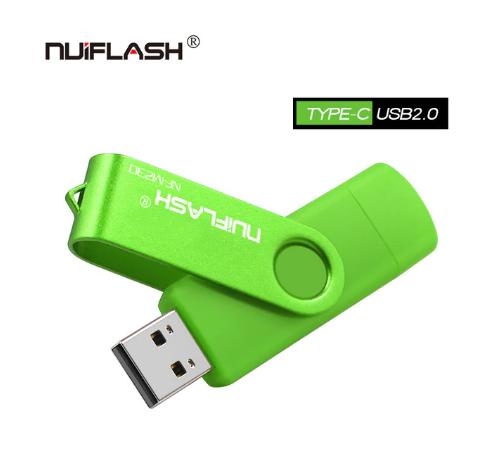 USB OTG флешка Nuiflash 32 Gb type-c - USB A Цвет Зелёный ОТГ для телефона и компьютера