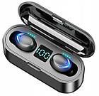 Беспроводные наушники BT F9 TWS Bluetooth 5.0 вакуумные дисплей, блютуз гарнитура, черный / белый, фото 2