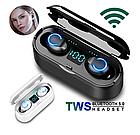 Беспроводные наушники BT F9 TWS Bluetooth 5.0 вакуумные дисплей, блютуз гарнитура, черный / белый, фото 3