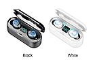 Беспроводные наушники BT F9 TWS Bluetooth 5.0 вакуумные дисплей, блютуз гарнитура, черный / белый, фото 5
