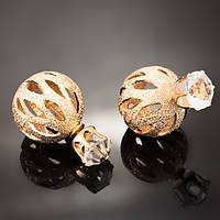Серьги-пусеты Dior металлические со стразами