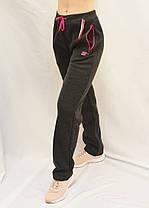Брюки женские спортивные прямые книзу с начесом Штаны женские зимние Lintebob M Черный, фото 2