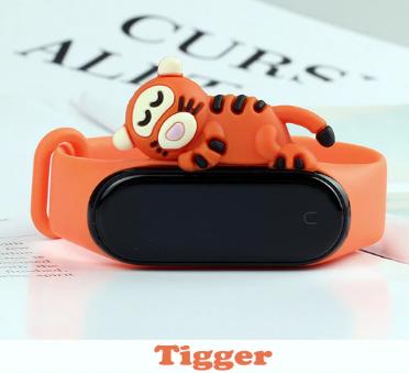 Силиконовый ремешок с милым Тигрой на фитнес трекер Xiaomi mi band 5 Цвет Коричневый