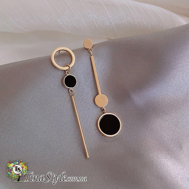 Серьги круги кольца и палочка кисть золотой цвет длинные сережки Ретро большие абстракция