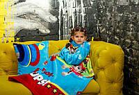 Детский плед покрывало с рукавами из микрофибры. Рукоплед Щенячий патруль (голубой)