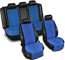 "Накидки на сиденье ""Эко-замша"" широкие (комплект) без лого, цвет синий"
