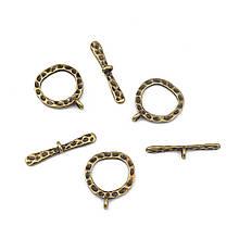 Застежка-тогл для ожерелий 23х19 мм бронза для рукоделия