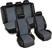 """Накидки на сиденье """"Эко-замша"""" узкие (комплект) без лого, цвет серый"""