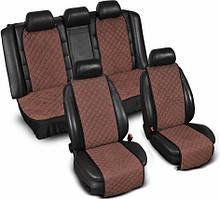 """Накидки на сиденье """"Эко-замша"""" узкие (комплект) без лого, цвет коричневый"""