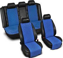 """Накидки на сиденье """"Эко-замша"""" узкие (комплект) без лого, цвет синий"""
