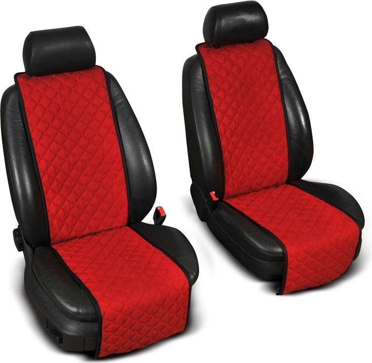 """Накидки на сидіння """"Еко-замша"""" вузькі (1+1) без лого, колір червоний"""