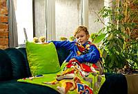 Детский плед покрывало с рукавами из микрофибры. Рукоплед Щенячий патруль (зеленый)