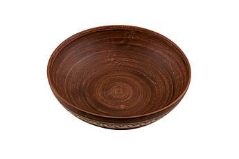 Миска для вареників з червоної глини діаметром 200 мм 0,9 л. ангоб Фенікс