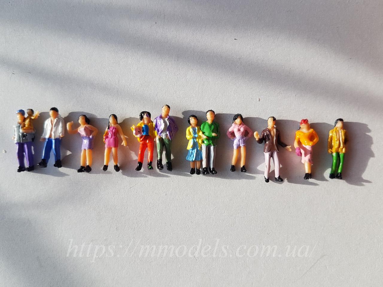 Комплект фигурок человечков для макета, комплект 10 шт высота 22 мм, масштаб 1:87,H0