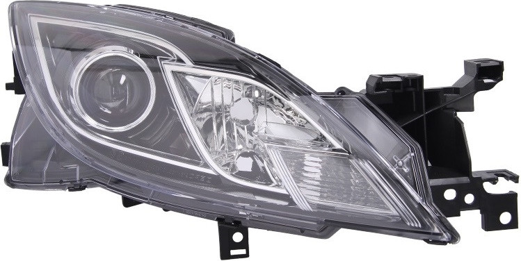 Фара передняя Mazda 6 (GH) 2007-2010 правая H9/H11, черная рамка, авт./мех.рег. 216-1155R-LDEM2