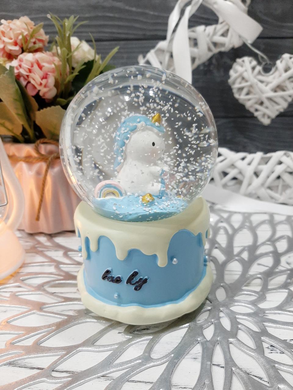 Музыкальный шар со снегом и с подсветкой, 11.5 см