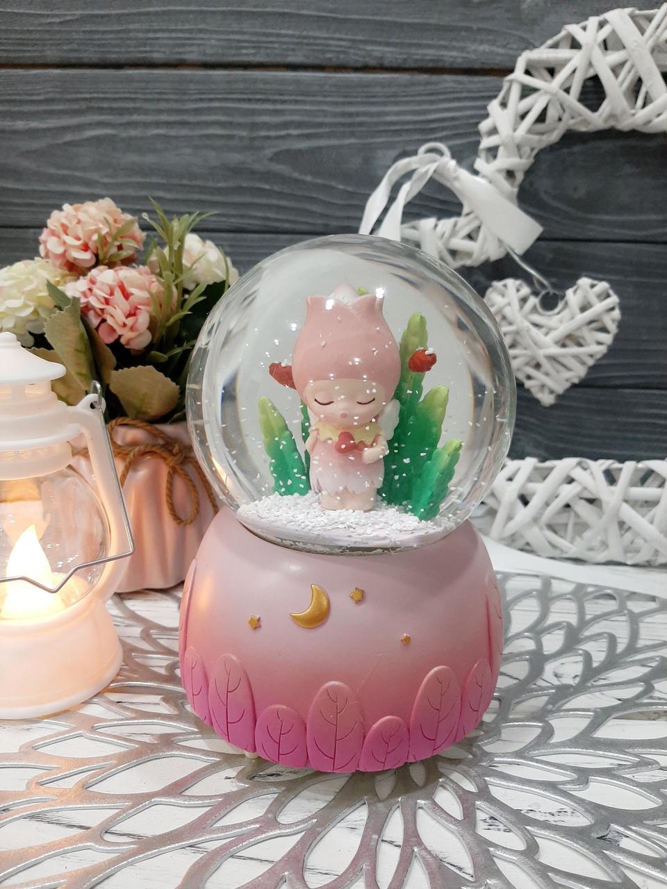 Музыкальный шар со снегом с подсветкой и автоподдувом, 14 см