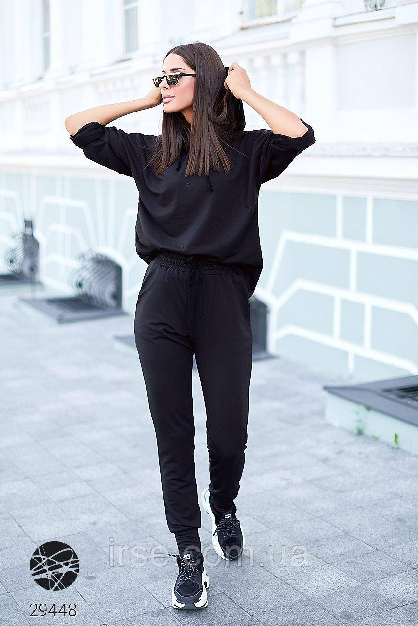 Женский трикотажный костюм черного цвета с капюшоном. Модель 29448. Размеры 42-60