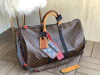 Дорожня сумка LV KEEPALL 55 см з плечовим ременем коричнева (репліка)
