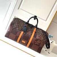 Дорожная сумка LV KEEPALL 55 см с плечевым ремнем коричневая (реплика)