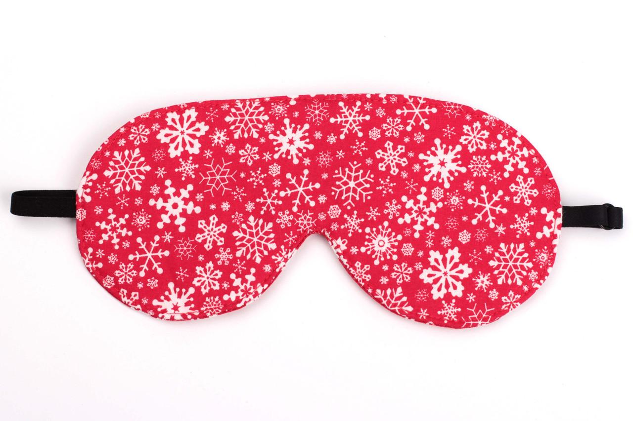 "Маска для сна ""снежинки"", красного цвета."
