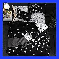 Постельное белье Бязь Голд Люкс, полуторный Птицы черно-белый